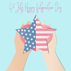 4th of july American independence day badge with hand holding heart and  American flag in the framework of stars,Vector illustration