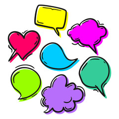 Set of blank colorful speech bubbles of different shapes Bright colors for expressive words