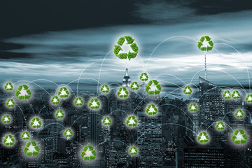 Concept of city powered by green energy