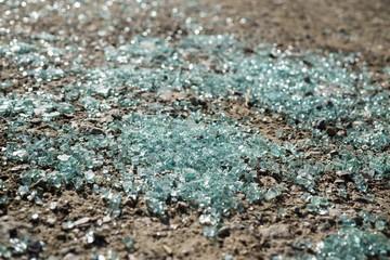 Broken glass on the ground. Slovakia