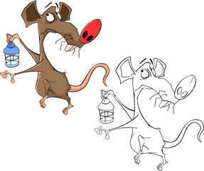 Illustration of a Cute Rat. Cartoon Character.  Coloring Book
