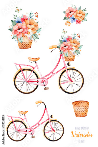 Beautiful floral collection. Bike with flowers in basket,bouquet ...