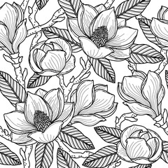 Black seamless pattern with flowers, buds, leaves and branches of magnolia. Vector illustration, isolated on background for design, fabric or wallpaper.