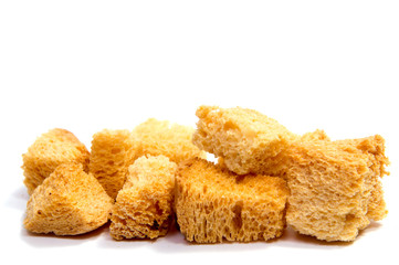 Croutons isolated on white background.