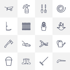 Set Of 16 Farm Outline Icons Set.Collection Of Palisade, Hatchet, Waterproof Shoes And Other Elements.