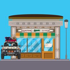 Hunting shop flat vector illustration