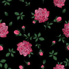 Embroidery colorful trend floral seamless pattern with roses. Vector traditional folk roses on black background for design.