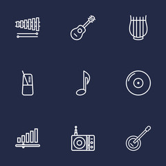Set Of 9 Song Outline Icons Set.Collection Of Wooden Block, Station, Stringed And Other Elements.