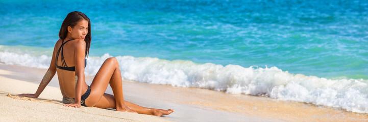 Beach bikini summer vacation woman travel lifestyle banner. Asian girl relaxing enjoying sun on holidays.