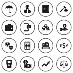 Set Of 16 Budget Icons Set.Collection Of Cash, Save Money, Umbrella And Other Elements.