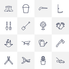 Set Of 16 Household Outline Icons Set.Collection Of Grass-Cutter, Herb, Barrow And Other Elements.