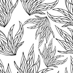 Black and white hand drawn zentangle seamless pattern with floral and natural elements.