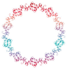 Beautiful round frame with gradient filled. Color elegant flower frame for advertisements, flyer, web, wedding and other invitations or greeting cards. Raster clip art.