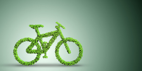 Green bicycle in transportation concept - 3d rendering
