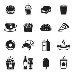 Photo sur Aluminium Snack Fast food icons set