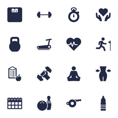 Set Of 16 Fitness Icons Set.Collection Of Date, Drink, Hartbeat And Other Elements.
