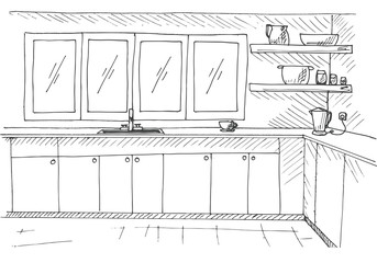 Sketch kitchen with a large window. Vector illustration in a sketch style.
