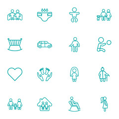 Set Of 16 Relatives Outline Icons Set.Collection Of Lovers, Soul, Grandfather Elements.