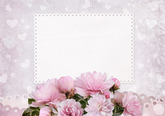 Greeting card with space for text and pink roses