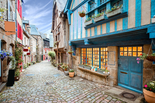 Street view at the famous Dinan town in Brittany region in France