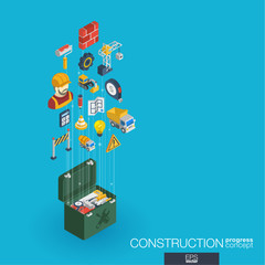 Construction integrated 3d web icons. Digital network isometric progress concept. Connected graphic design line growth system. Abstract background for engineer, architecture, build. Vector Infograph