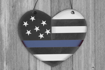 Retro I love thin blue line sign on weathered wood