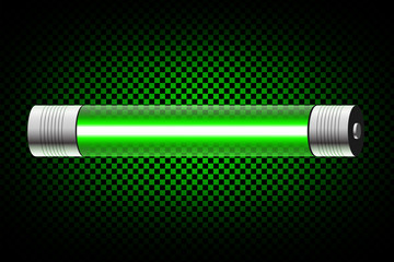Realistic green neon tube light isolated on dark transparent background. Vector illustration