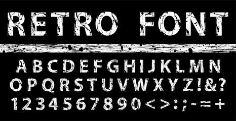 Grunge vintage ink font. Old style letters. Vector illustration