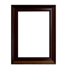 The wooden frame isolated on white background.