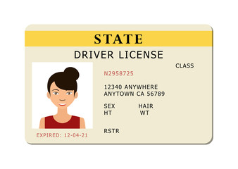 Driving id license with person photo, identification card. Vector illustration.