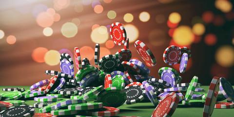 Casino chips falling on green felt. 3d illustration