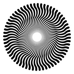 Serpentine lines forming a circular pattern and a three-dimensional effect. The pattern creates an optical illusion as if it is moving. Black and white illustration, on white background. Vector.