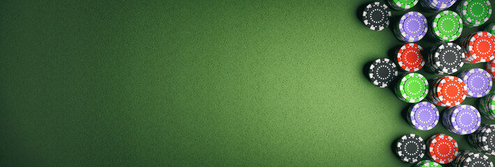 Casino chips on green felt 3d illustration