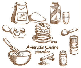 American Pancakes and Ingredients