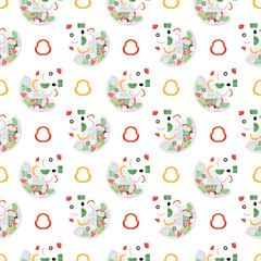 Seamless pattern with salad bowls. Tomatoes, olives, peppers, onions and cheese.