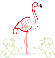 Flamingo floral logo vector