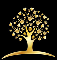 Gold tree hands and hearts logo