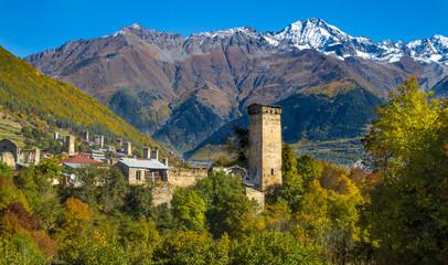 Svan towers in snowy mountains