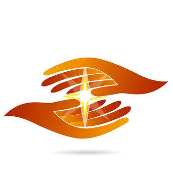 Hands holding a star light guide vector logo design