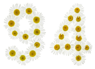 Arabic numeral 94, ninety four, from white flowers of chamomile, isolated on white background