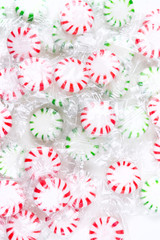 Mint hard candies isolated on a white background