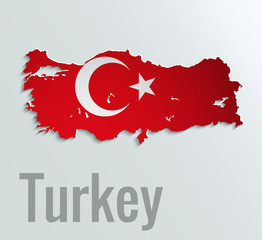 Map of Turkey . Abstract vector paper map with flag