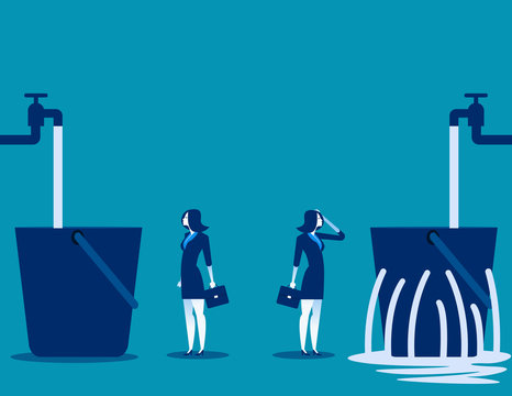 Businesswoman and leaking bucket. Contrast between business. Vector illustration.