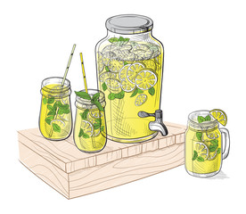 Vector home made lemonade with strawberry and slice of lemon illustration. Hand drawn sketch of soft drink for restaurant, bar, cafe menu design