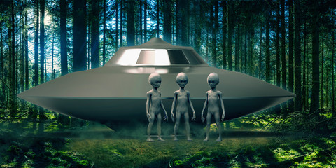 Extremely detailed and realistic high resolution 3d illustration of 3 extraterrestrial aliens in front of a landed ufo inside a forest.