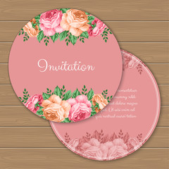 Floral round invitation or greeting card template. Vector Illustration in retro style