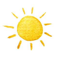 Cute cartoon sun. Hand drawn watercolor illustration