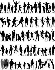 Large collection silhouettes of people.