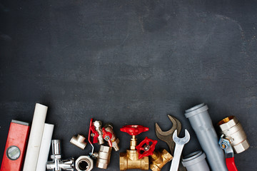 Top view of the plumbing equipment on a black background