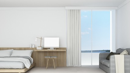 3D Rendering interior bedroom space and view nature